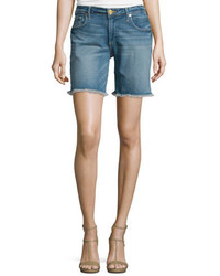 True Religion Emma Raw Hem Denim Bermuda Shorts Gypset Blue