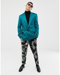Teal Double Breasted Blazer