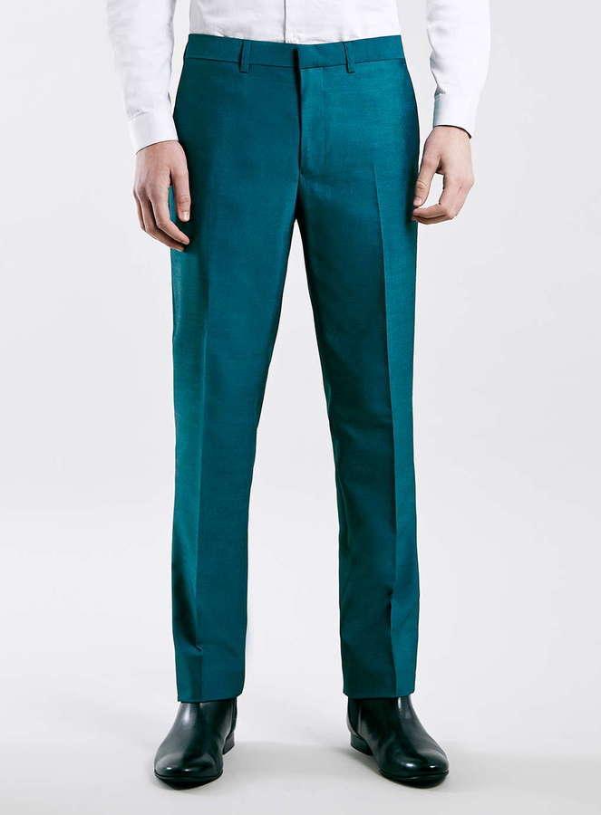 Dress Pants Topman Teal Skinny Fit Tuxedo