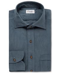 Drakes Drakes Blue Cotton Shirt
