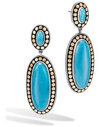 John Hardy Dot Oval Turquoise Drop Earrings