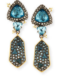Alexis Bittar Double Fancy Cut Crystal Drop Earrings Blue