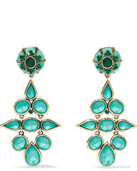 Etro Gold Tone Crystal And Enamel Clip Earrings Turquoise