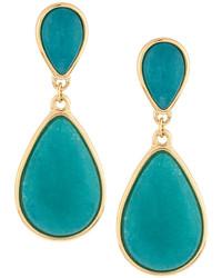 Nakamol Golden Double Drop Agate Earrings Turquoise