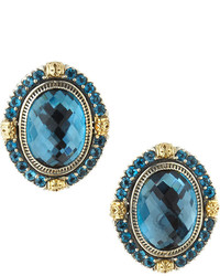 Konstantino Oval London Blue Topaz Clip Earrings