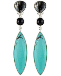 Stephen Dweck Mixed Gemstone Triple Drop Earrings