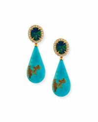 Rina Limor Fine Jewelry Rina Limor Signature Opal Turquoise Teardrop Earrings With Diamonds