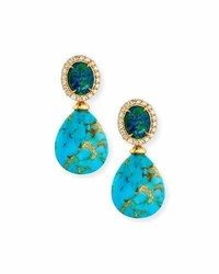 Rina Limor Fine Jewelry Rina Limor Signature Turquoise Opal Drop Earrings With Diamonds