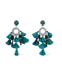 Ranjana Khan Sandy T Silver Tone Satin And Crystal Clip Earrings