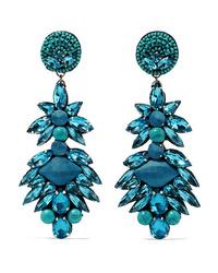 Ranjana Khan Silver Tone Crystal And Bead Clip Earrings