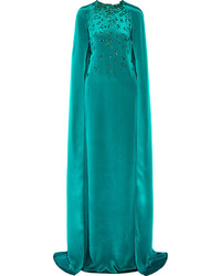 Teal Embellished Evening Dress