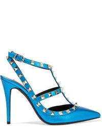Valentino Rockstud Metallic Textured Leather Pumps Bright Blue