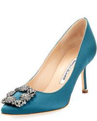 Manolo Blahnik Hangisi 70mm Satin Embellished Pump Bright Blue