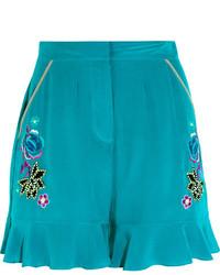 Matthew Williamson Sakura Embroidered Silk Crepe De Chine Shorts Light Blue