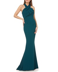 Carmen Marc Valvo Infusion Twisted Halter Trumpet Gown