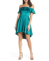 Sequin Hearts Off The Shoulder Satin Highlow Cocktail Dress