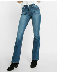 Express Mid Rise Medium Wash Stretch Bootcut Jeans