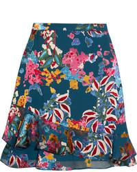 Cece floral print fil coup chiffon mini skirt blue medium 4393605