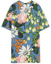 Marni Floral Print Cotton And Linen Blend Mini Dress Blue