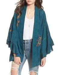 Teal Floral Kimono
