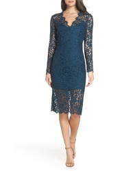 Teal Floral Lace Sheath Dress