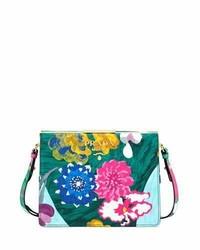 Prada Soft Frame Flora Print Leather Crossbody Bag