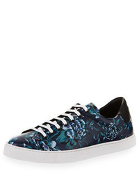 Burberry Albert Floral Print Leather Low Top Sneakers Ink