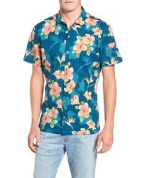 Teal Floral Short Sleeve Shirt