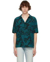 Saint Laurent Black Blue Short Sleeve Shirt
