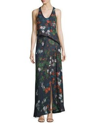 Cédric Charlier Cedric Charlier Sleeveless Floral Print Silk Maxi Dress Fantasia Blue