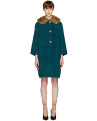 Prada Green Shearling Fur Collar Coat