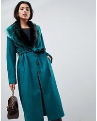 Vila Wool Faux Fur Collar Wrap Coat