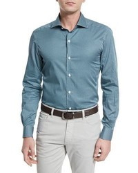 Ermenegildo Zegna Geo Print Long Sleeve Sport Shirt Teal