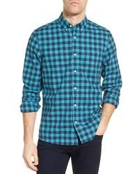 Nordstrom Shop Slim Fit Washed Gingham Sport Shirt