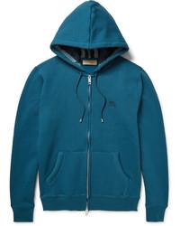 Burberry Fleece Back Cotton Blend Jersey Zip Up Hoodie