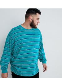 Teal Horizontal Striped Long Sleeve T-Shirt