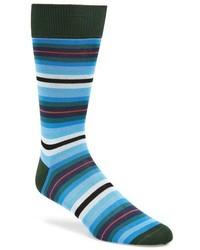 Teal Horizontal Striped Socks