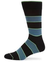 Paul Smith Odd Striped Mercerized Cotton Blend Knitted Socks
