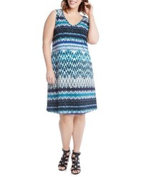 Plus size brigitte batik stripe tank dress medium 3694701