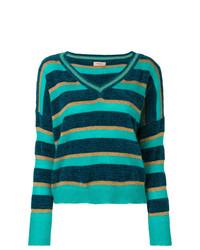 Twin-Set Striped V Neck Sweater