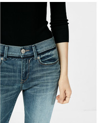 Express Mid Rise Released Waistband Stretch Jean Leggings