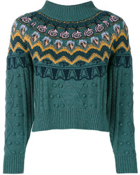 Temperley London Cable Knit Jacquard Sweater