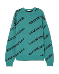 Balenciaga Oversized Intarsia Wool Blend Sweater