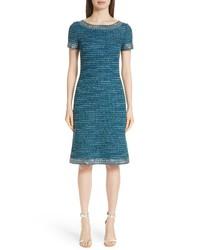 St. John Collection Sequin Sheen Tweed Knit Dress