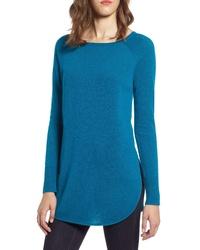 Halogen Shirttail Wool Cashmere Boatneck Tunic