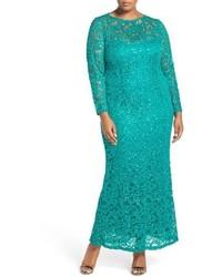 Marina Plus Size Illusion Yoke Long Sleeve Lace Gown