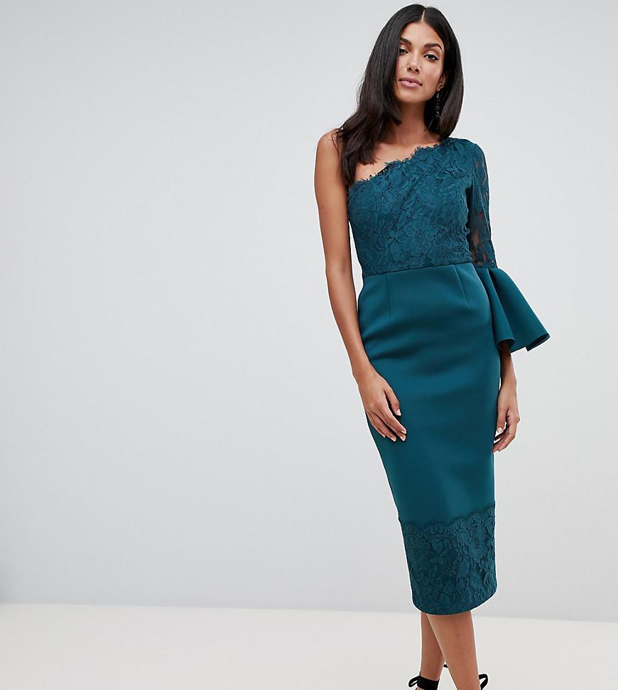 Asos Design Tall One Shoulder Lace Mix Midi Dress