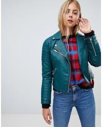 Miss Selfridge Faux Leather Biker Jacket In Turquoise