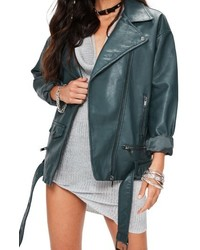 Missguided Faux Leather Biker Jacket