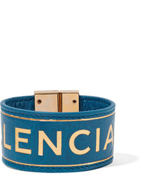 Balenciaga Blanket Embossed Textured Leather Bracelet Blue
